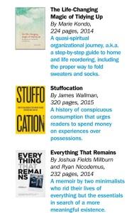 Empfehlungen aus dem TIME-Magazin vom 23.03.2015 im Artikel THE JOY OF LESS von Josh Sunburn